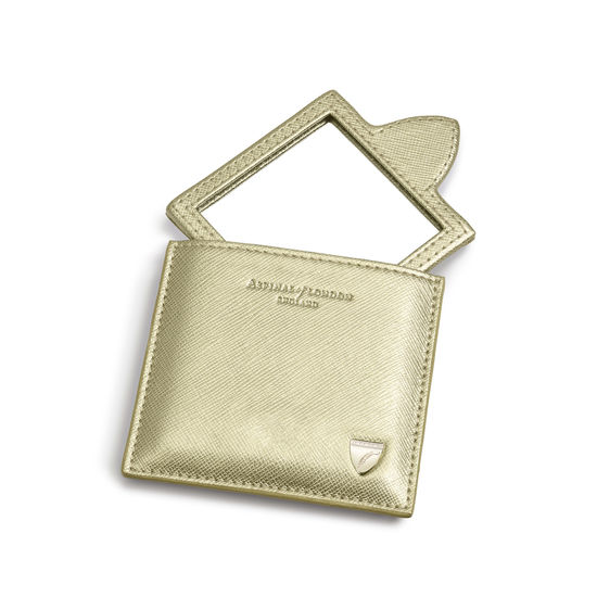 Compact Mirror in Gold Saffiano from Aspinal of London