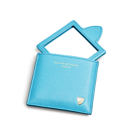 Compact Mirror in Bright Blue Saffiano from Aspinal of London