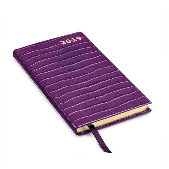Slim Pocket Leather Diary in Deep Shine Amethyst Small Croc from Aspinal of London