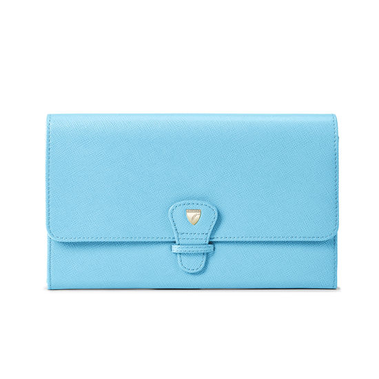 Classic Travel Wallet in Bright Blue Saffiano from Aspinal of London