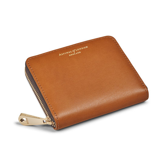 Slim Mini Continental Purse in Smooth Tan from Aspinal of London