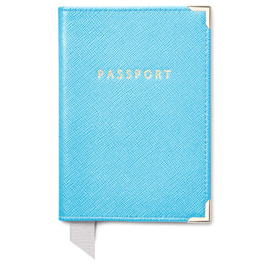 Travel Collection in Bright Blue Saffiano from Aspinal of London