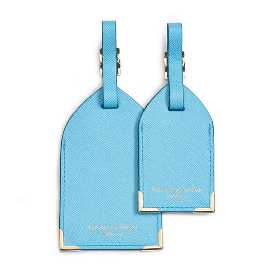 Set of 2 Luggage Tags in Bright Blue Saffiano from Aspinal of London