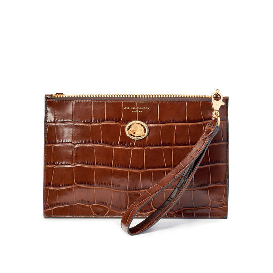 Equestrian Soho Bag in Deep Shine Brown Soft Croc from Aspinal of London