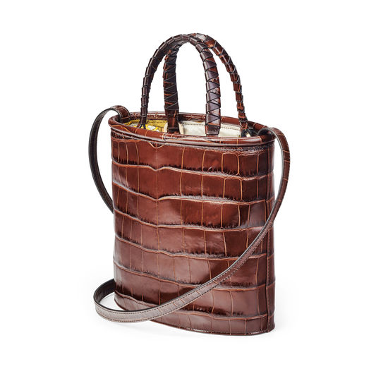 Bucket Bag in Deep Shine Brown Soft Croc from Aspinal of London