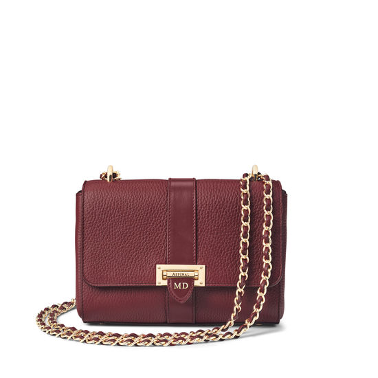 Small Lottie Bag in Bordeaux Pebble from Aspinal of London