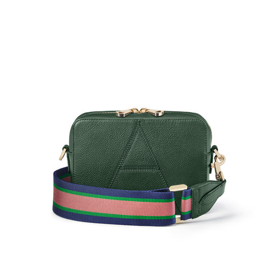 Camera 'A' Bag in Evergreen Small Grain Pebble with Webbing Strap from Aspinal of London