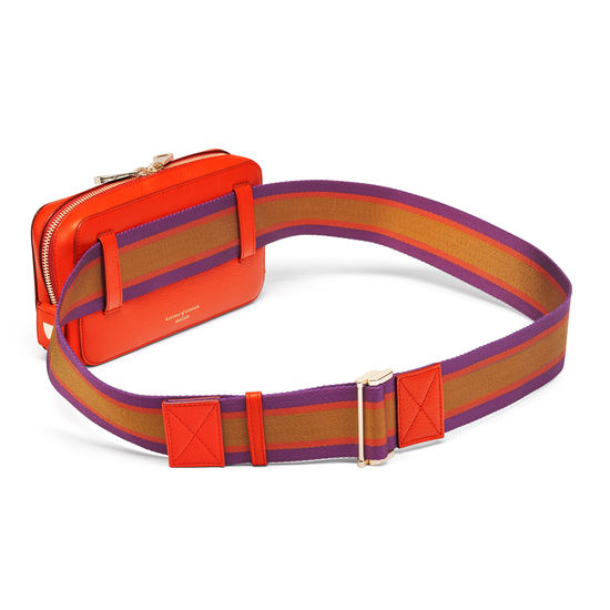 Camera Belt Bag in Orange Small Grain Pebble from Aspinal of London