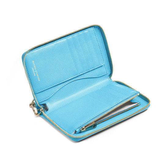 Midi Continental Wallet with Wrist Strap in Bright Blue Saffiano from Aspinal of London