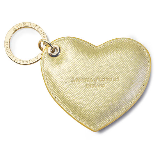 Heart Key Ring in Gold Saffiano from Aspinal of London