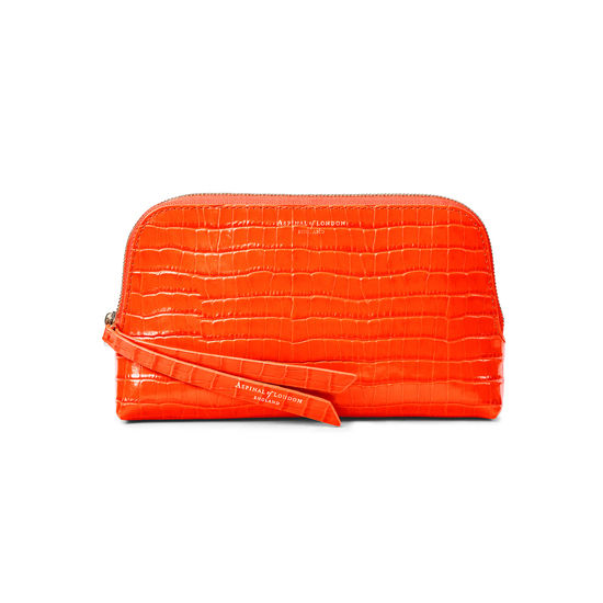 Small Essential Cosmetic Case in Deep Shine Orange Small Croc from Aspinal of London