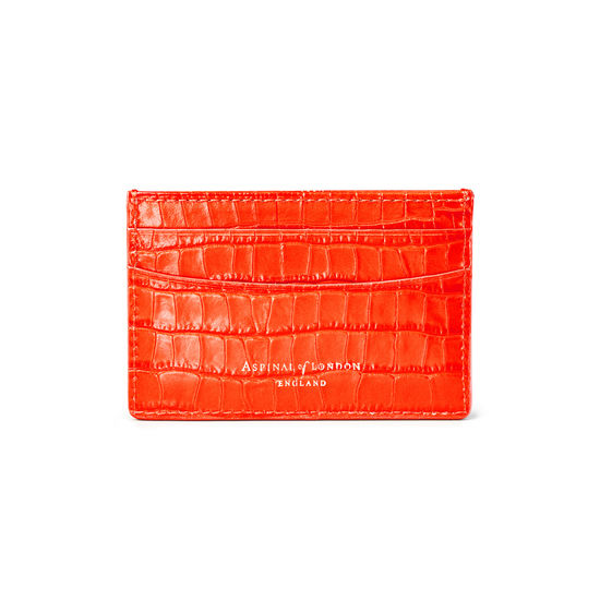 Slim Credit Card Holder in Deep Shine Orange Small Croc from Aspinal of London