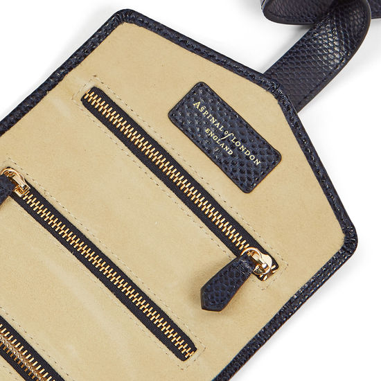 Travel Jewellery Roll in Midnight Blue Lizard & Cream Suede from Aspinal of London