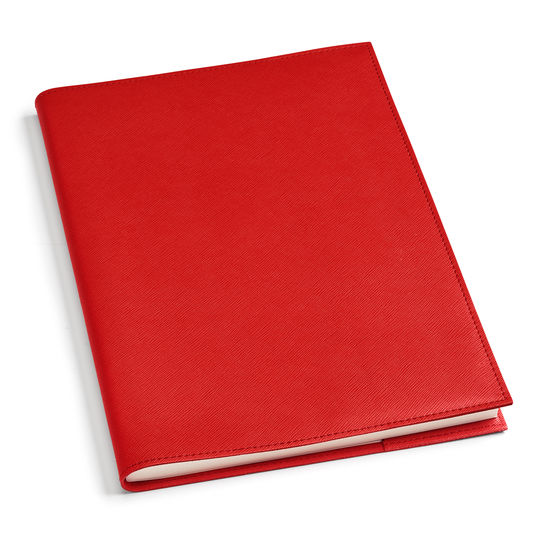 A4 Refillable Leather Journal in Scarlet Saffiano from Aspinal of London