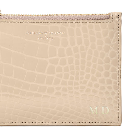 Small Essential Flat Pouch in Soft Taupe Patent Croc from Aspinal of London