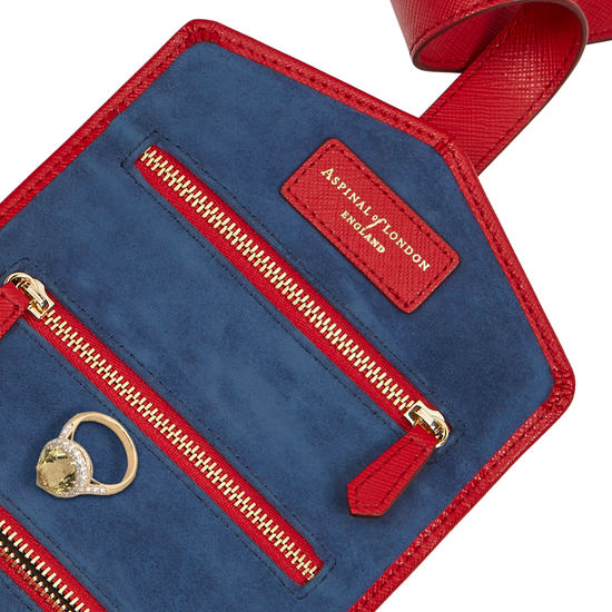 Travel Jewellery Roll in Scarlet Saffiano & Navy Suede from Aspinal of London
