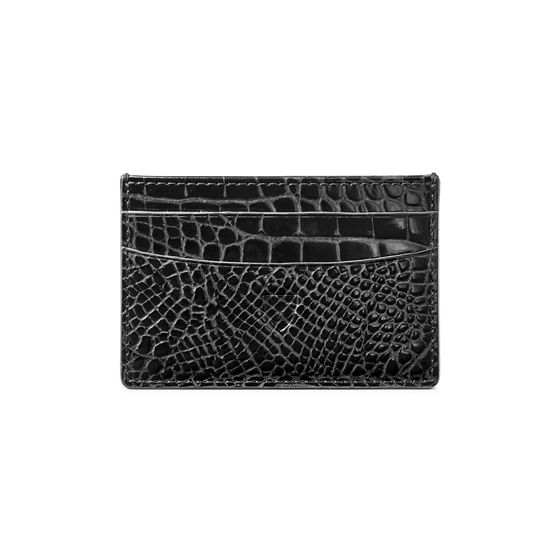 Slim Credit Card Holder in Black Patent Croc from Aspinal of London