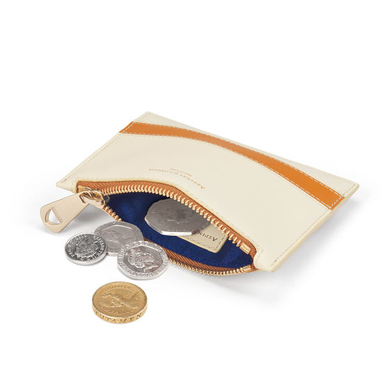 Small Essential Flat Pouch in Smooth Ivory & Mustard from Aspinal of London