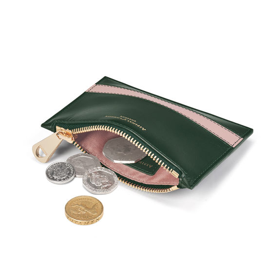 Small Essential Flat Pouch in Smooth Evergreen & Peony from Aspinal of London