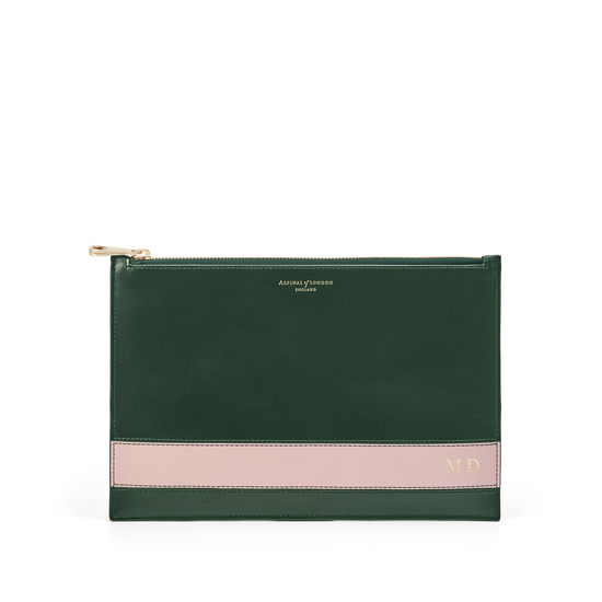 Large Essential Flat Pouch in Smooth Evergreen & Peony from Aspinal of London