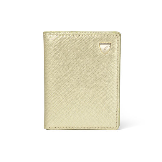 ID & Travel Card Holder in Gold Saffiano from Aspinal of London