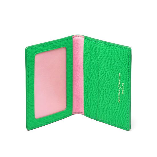 ID & Travel Card Holder in Bright Green Saffiano from Aspinal of London