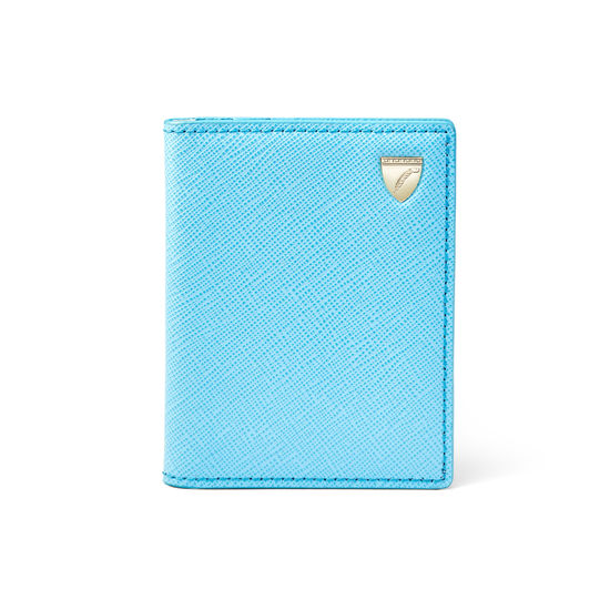 ID & Travel Card Holder in Bright Blue Saffiano from Aspinal of London