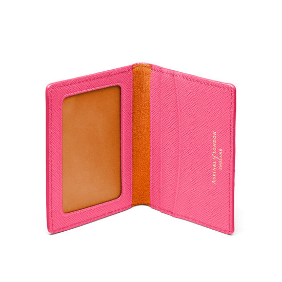 ID & Travel Card Holder in Bright Pink Saffiano from Aspinal of London
