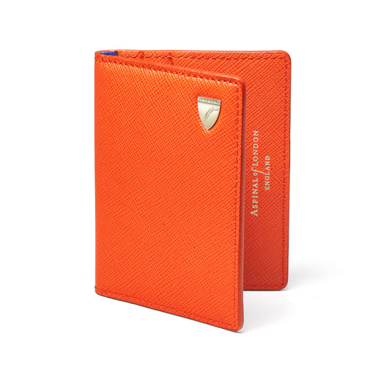 ID & Travel Card Holder in Bright Orange Saffiano from Aspinal of London