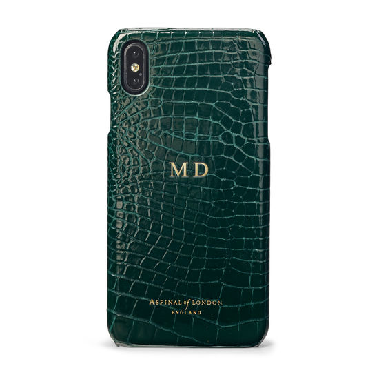 iPhone Xs Max Case in Evergreen Patent Croc from Aspinal of London