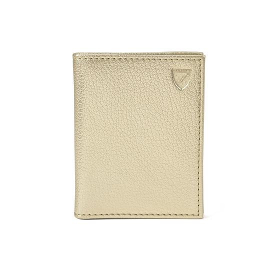 ID & Travel Card Case in Pale Gold Pebble from Aspinal of London