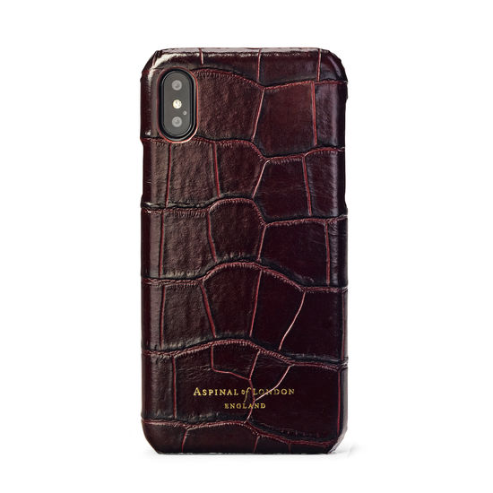 iPhone Xs Case in Deep Shine Amazon Brown Croc from Aspinal of London