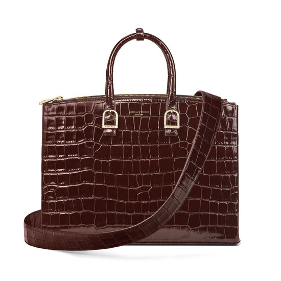 Madison Tote in Deep Shine Amazon Brown Croc from Aspinal of London