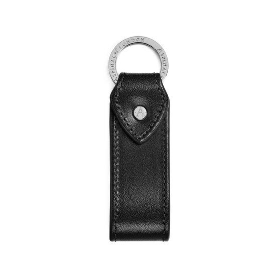 Leather Loop Keyring in Smooth Black from Aspinal of London