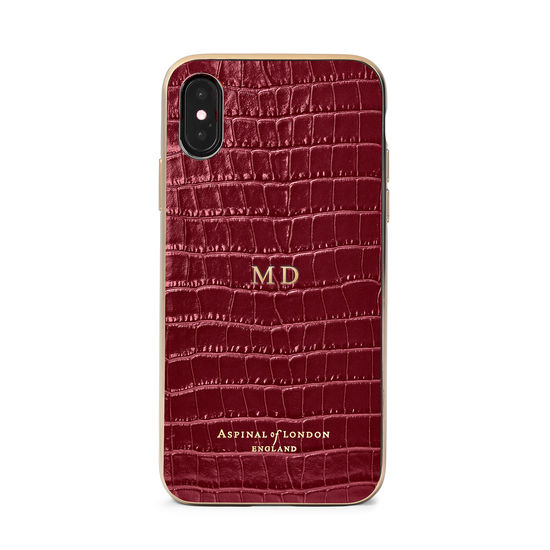 iPhone Xs Case with Gold Edge in Bordeaux Patent Croc from Aspinal of London
