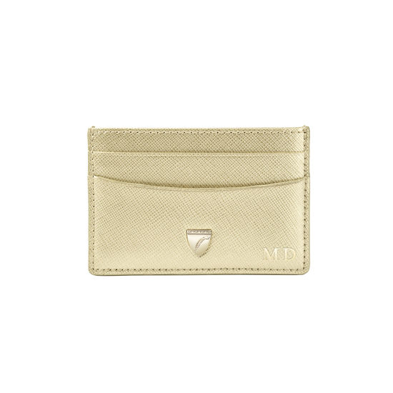 Slim Credit Card Holder in Gold Saffiano from Aspinal of London