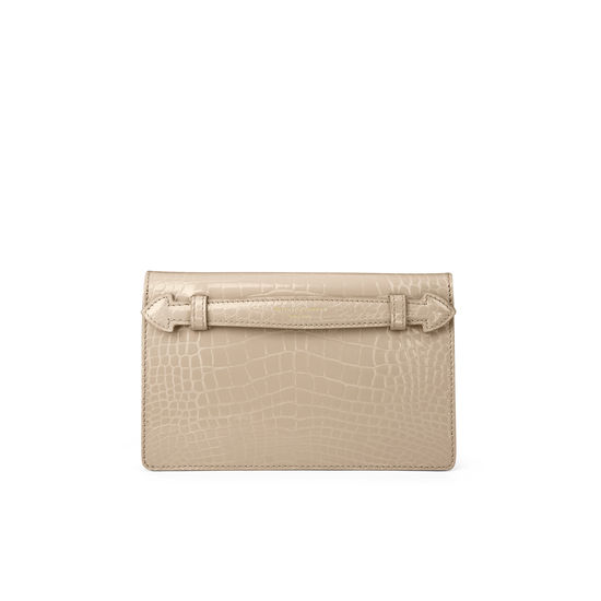 Equestrian Ava Bag in Soft Taupe Patent Croc from Aspinal of London