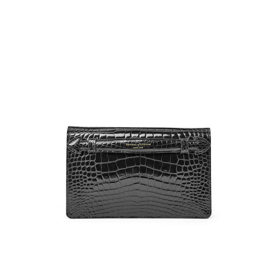 Equestrian Ava Bag in Black Patent Croc from Aspinal of London