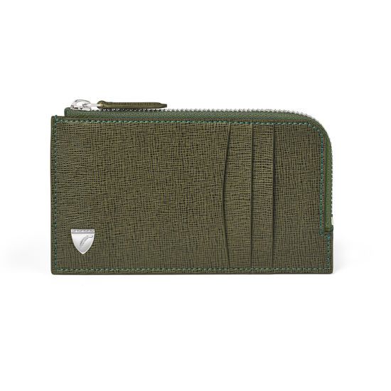 Vertical Zipped Wallet in Sage Saffiano & Smooth Sage from Aspinal of London