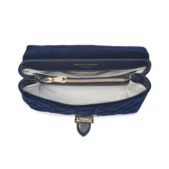 Small Lottie Bag in Navy Quilted Velvet from Aspinal of London