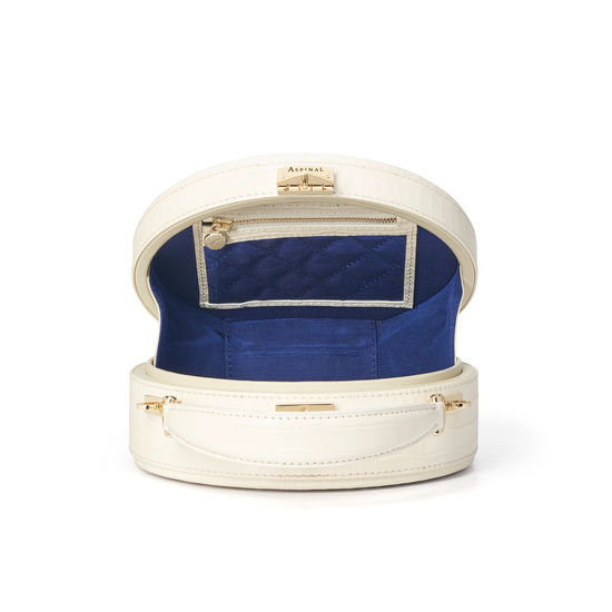 Hat Box in Deep Shine Ivory Small Croc from Aspinal of London