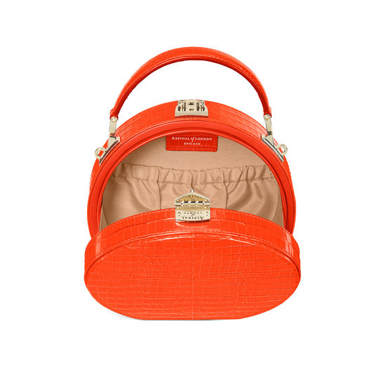 Hat Box in Deep Shine Orange Small Croc from Aspinal of London