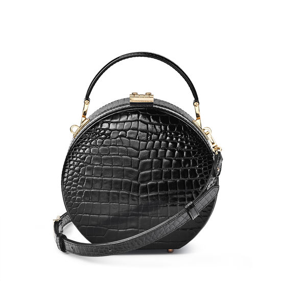 Hat Box in Black Patent Croc from Aspinal of London