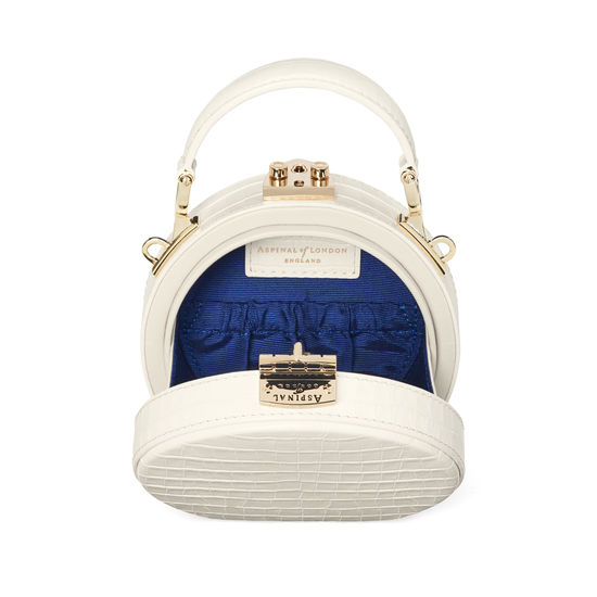 Micro Hat Box in Deep Shine Ivory Small Croc from Aspinal of London