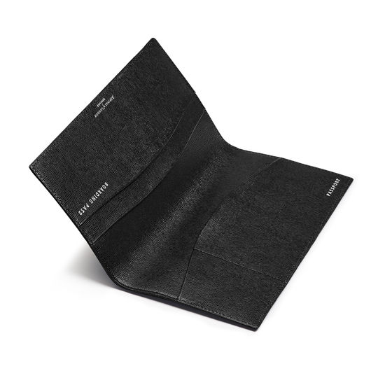 Slim Travel Wallet in Black Saffiano from Aspinal of London