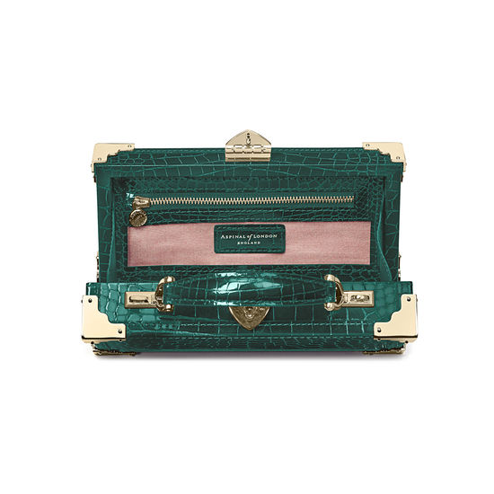 Trinket Box in Evergreen Patent Croc from Aspinal of London