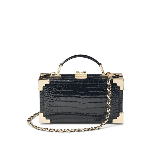 Trinket Box in Black Patent Croc from Aspinal of London
