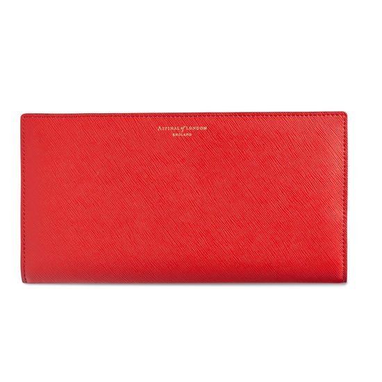Slim Travel Wallet in Scarlet Saffiano from Aspinal of London