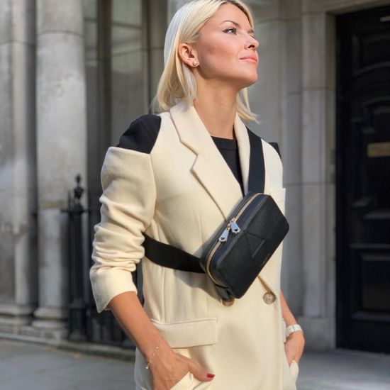 Camera Belt Bag in Black Pebble from Aspinal of London