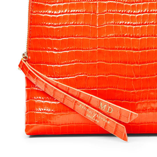 Large Essential Cosmetic Case in Deep Shine Orange Small Croc from Aspinal of London